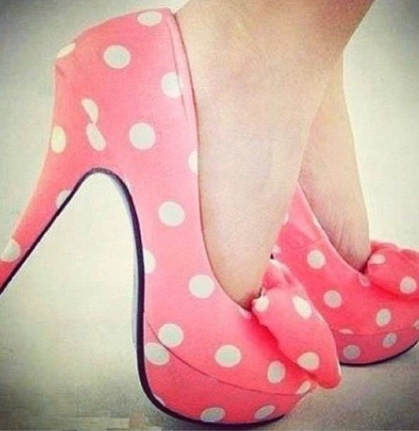 shoes high heels polka dots