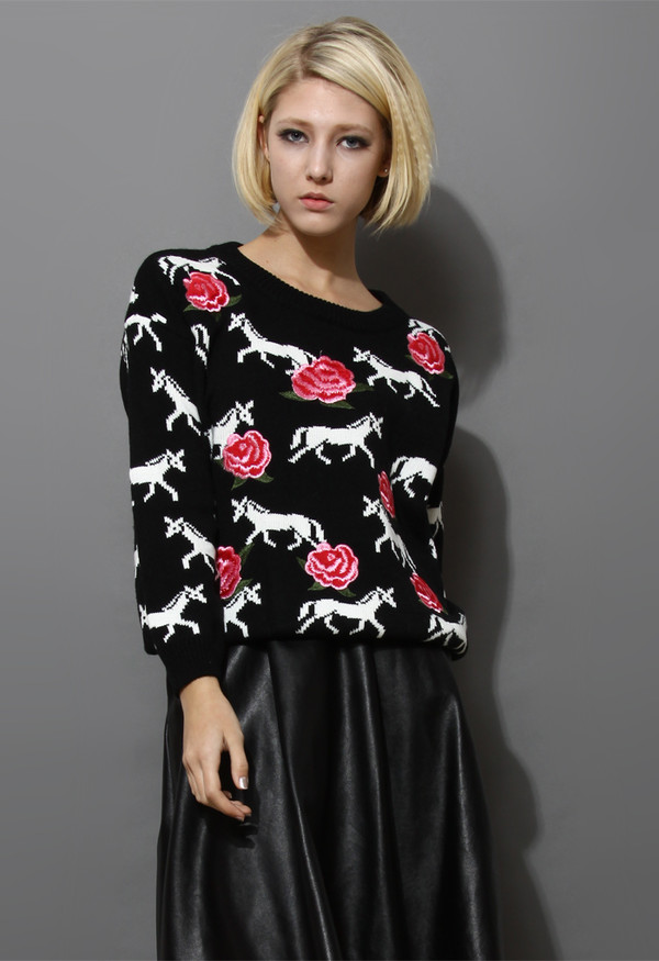 skirt horse print knitted sweater floral embroidery