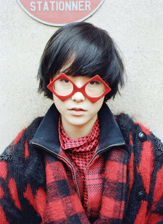 sunglasses cute red mae lapres red sunglasses red jacket red shirt red coat red everywhere