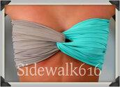 swimwear,bandeau,spandex,spandex bandeau,spandexbandeau,tiffany blue,bandeau bikini,grey