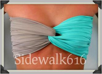 swimwear bandeau spandex spandex bandeau spandexbandeau tiffany blue tiffanyblue bandeau swimsuit grey