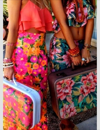 pants skirt crop tops blouse bag suitcase floral bodycon neon maxi dress maxi skirt fringes high waist skirts high waist maxi skirt summer dress summer outfits resort 2014 coral top flowers shirt vacation look crop tropical island girl outfit matching set
