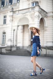 shoes,sandals,blue sandals,mid heel sandals,skirt,mini skirt,blue skirt,denim skirt,button up denim skirt,blue top,off the shoulder top,hat,straw hat,fashion agony,summer outfits,all blue