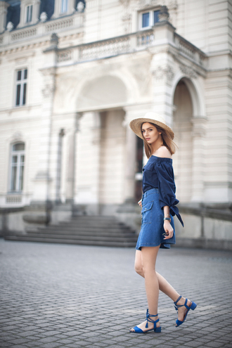 shoes sandals blue sandals mid heel sandals skirt mini skirt blue skirt denim skirt button up denim skirt blue top off the shoulder top hat straw hat fashion agony summer outfits all blue