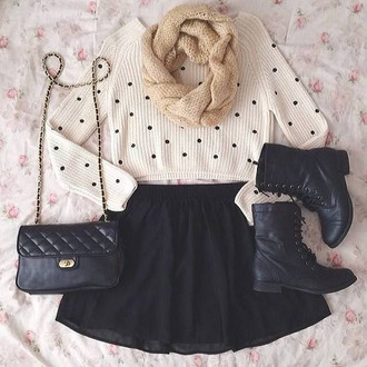 knitted sweater polka dots black combat boots combat boots infinity scarf knitted scarf quilted bag black skirt skater skirt cropped sweater white sweater fall outfits black shoes black boots chain bag black bag ankle boots quilted boots flat boots