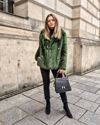 bag tumblr fur coat green coat denim jeans black jeans boots black boots black bag