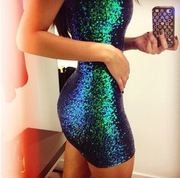 metallic dress dress mermaid dress shiny party dress spandex green dress blue dress blue green glitter sequins sequin dress pretty bodycon club dress classy shoes glitter dress black sequin dress