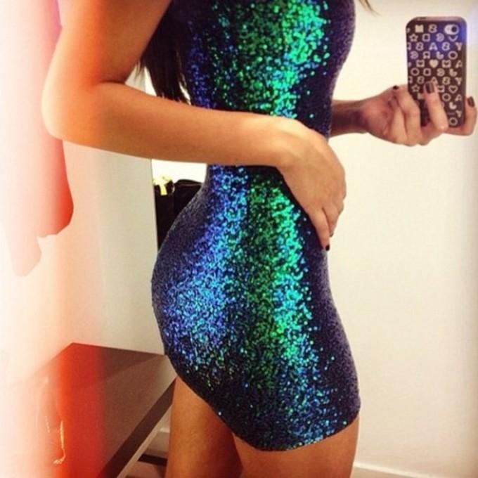 Metallic Dress Blue Green