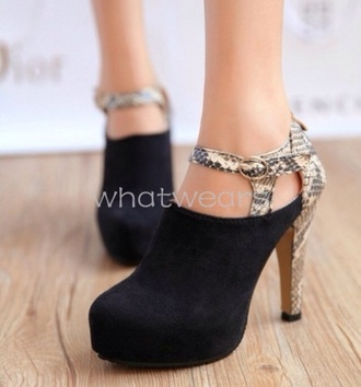 shoes snake print high heels suede boots strap on