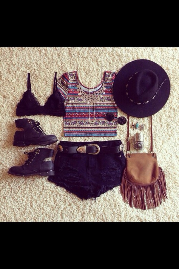 blouse colorful hipster shirt hat bag t-shirt sunglasses shorts shoes jewels underwear
