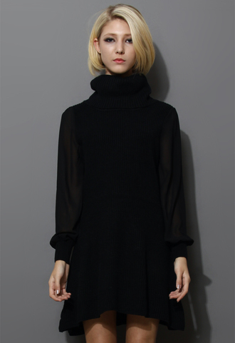 dress crepe sleeves turtleneck knitwear