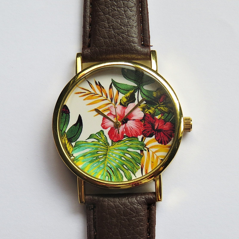 Tropical Floral Watch , Hibiscus Flowers, Vintage Style Leather Watch, Women Watches, Boyfriend Watch