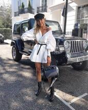 dress,white dress,mini dress,long sleeve dress,belted dress,black boots,fisherman cap