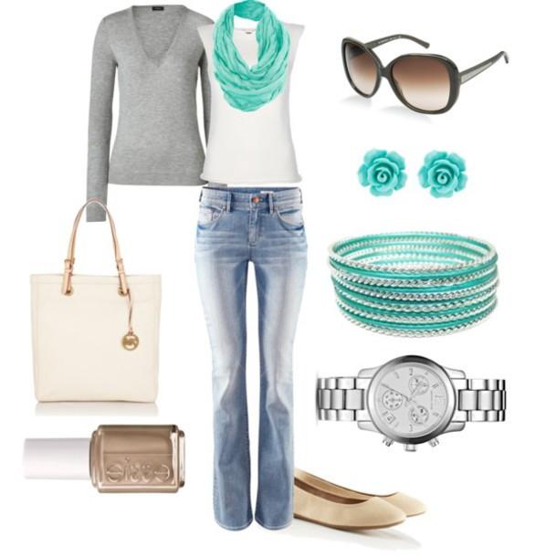 jewels pants shist sweater purse scarf nail polish shoes earrings sunglasses watch