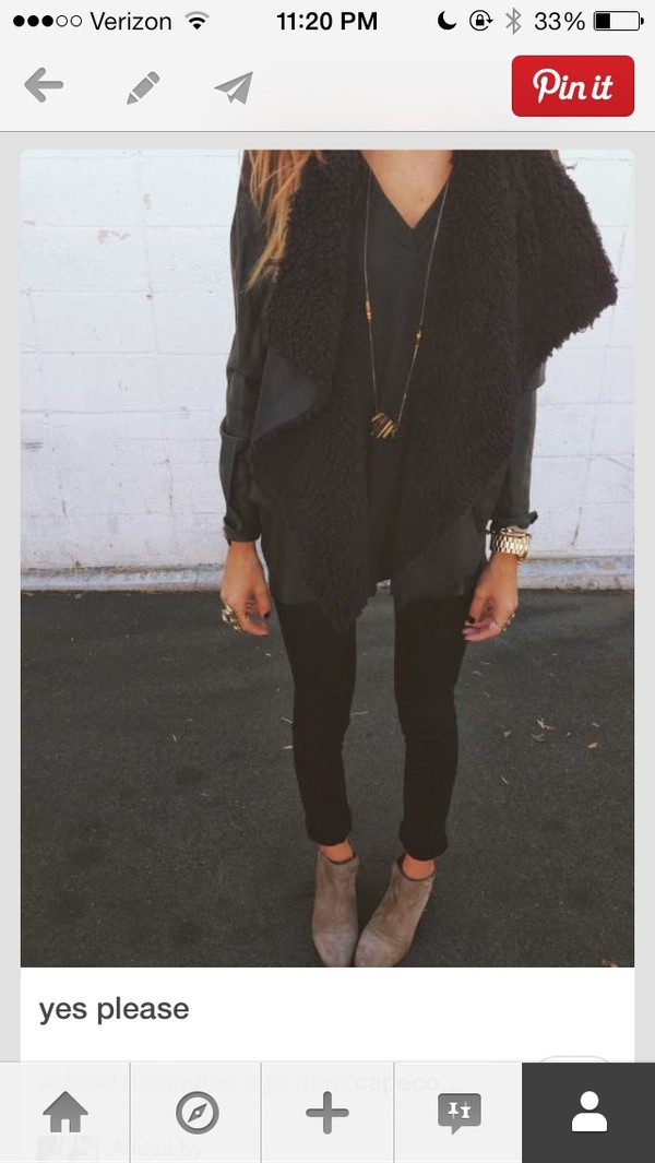 jacket sherpa wool vest fur vest leather pants fashion blouse jeans shoes coat