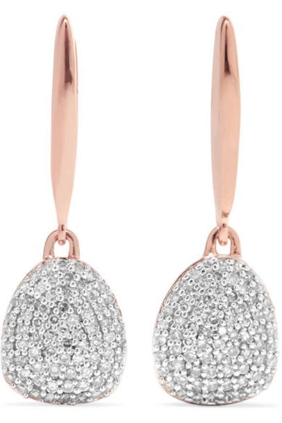 Monica Vinader rose gold rose earrings gold jewels