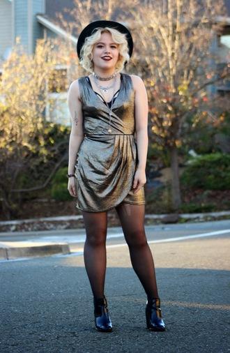 broke hell blogger metallic party dress ankle boots