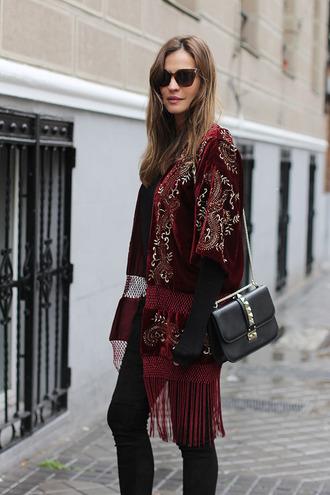 blogger bag lady addict sunglasses kimono red velvet