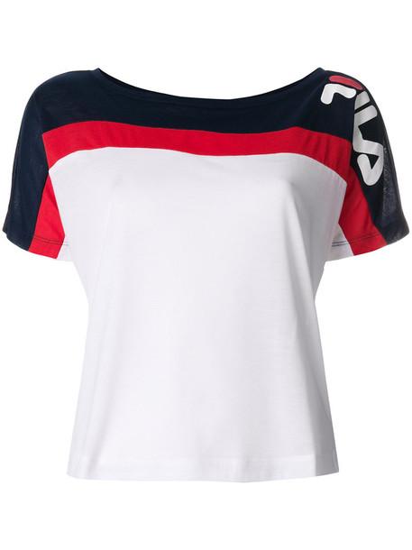 Fila - colour-block T-shirt - women - Polyester - XS, White, Polyester