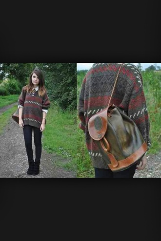 sweater pattern indie colorful backpack leggings black hipster oh god why did i say hipster *face palm* dark colours bag
