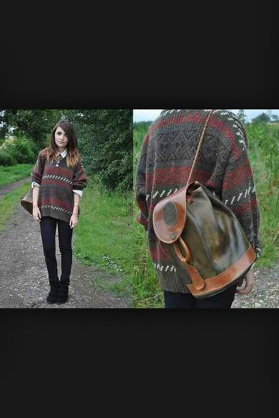 sweater pattern indie colorful backpack leggings black hipster oh god why did i say hipster *face palm* dark colours bag leather backpack fall outfits collar boho