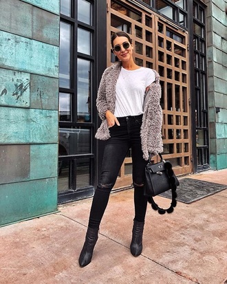 jacket fuzzy jacket black pants grey jacket top white top pants boots black boots bag