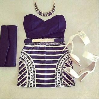 dress black black dress zig zag print white stripes studs