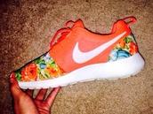 shoes,nike,floral,dope,mesh,cute,bright,panter,like,beautiful,sneakers,nike sneakers,nike roshe run,nike roshe run floral,pretty floral