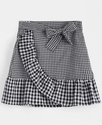 skirt girly black black and white checkered gingham gingham skirt