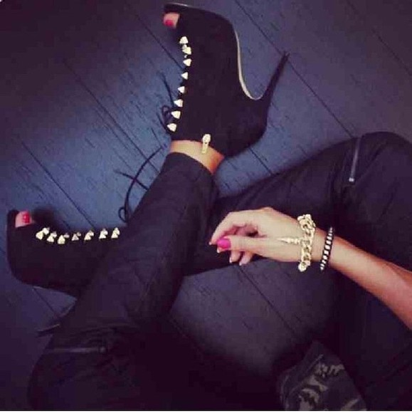 shoes ankle booties ankle boots peep toe high heels lace up gold details fiftyfootfashionista black high heels