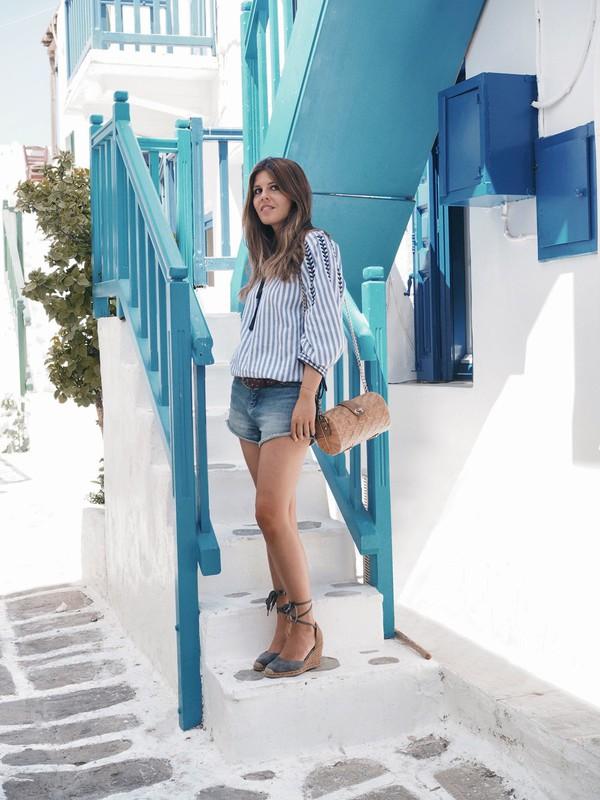 18d179e64b8d shirt tumblr stripes striped top denim denim shorts shorts sandals wedges  wedge sandals bag vacation outfits.