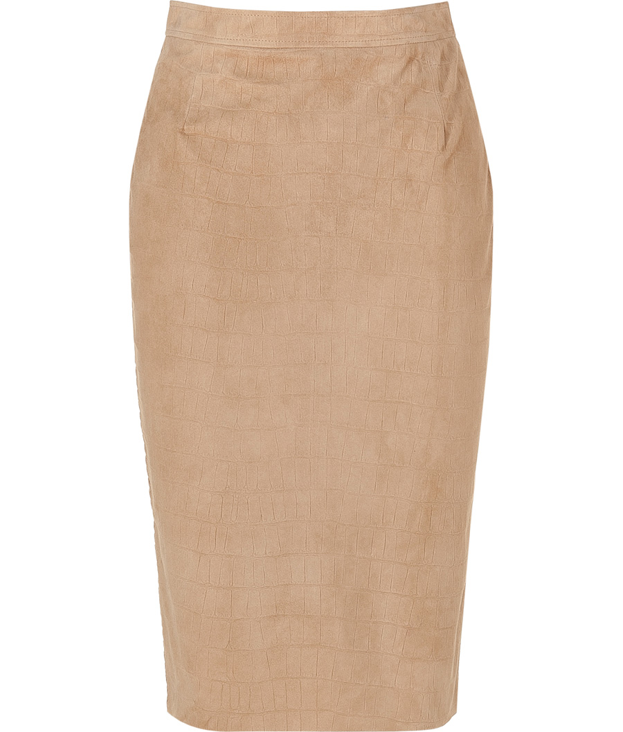 Camel Embossed Leather Pencil Skirt