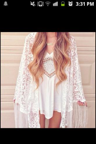blouse kimono lace crochet fashion style girly white