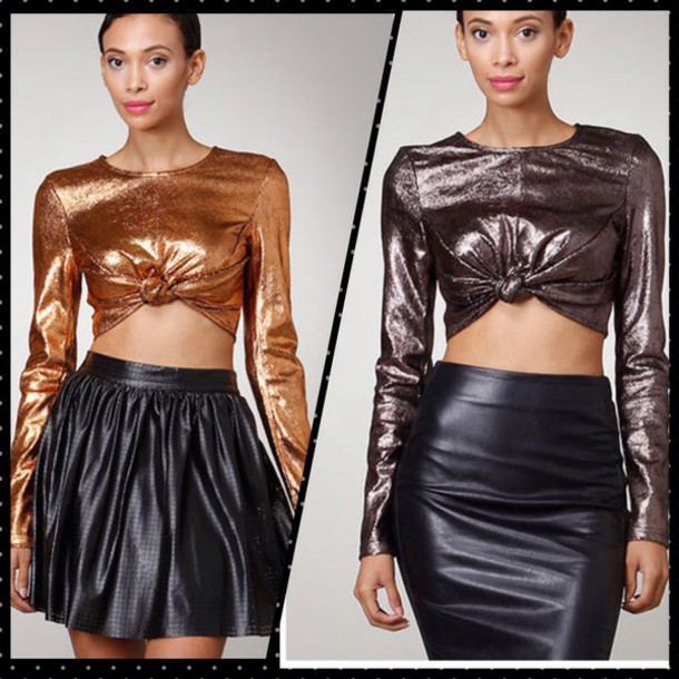 blouse copper long sleeves crop tops skirt style leather top