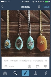jewels,hamsa,weed,namaste,necklace