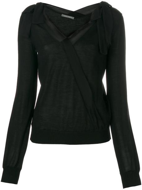 Alberta Ferretti top wrap top bow women black silk wool