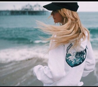 sweater white beach waves hoodie