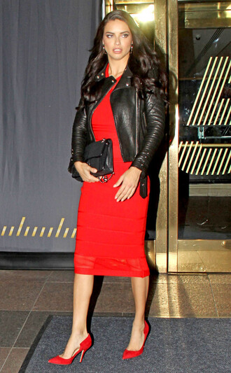 dress bodycon dress adriana lima model pumps red pumps jacket midi dress