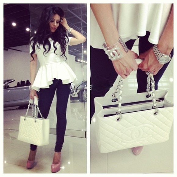 top white peplum peplum top shirt white blouse white shirt t-shirt shoes bag jeans braclets blouse jewels chanel high heels