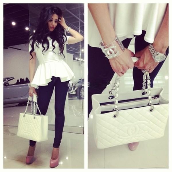 shirt white blouse white shirt t-shirt shoes bag white peplum jeans bracelets blouse jewels pants chanel high heels top peplum top