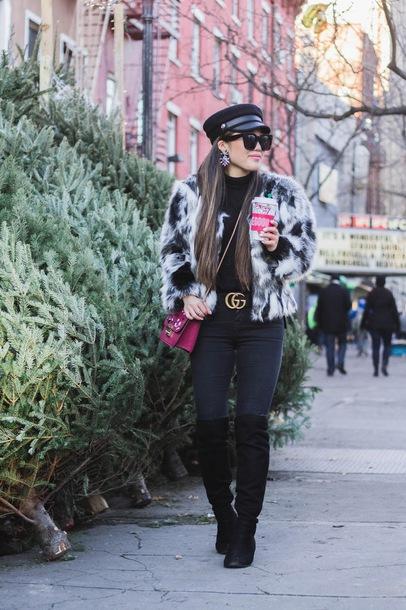 gracefullee made blogger jacket jewels bag shoes top sunglasses belt fisherman cap faux fur jacket gucci belt black jeans winter outfits