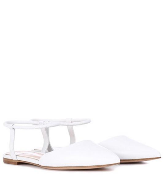 Gianvito Rossi Hedy leather ballerinas in white