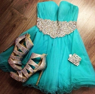 dress blue dress short dress party short dress mini dress shoes high heels silver shoes glitter dress glitter bracelets jewels silver light blue dresses accessory