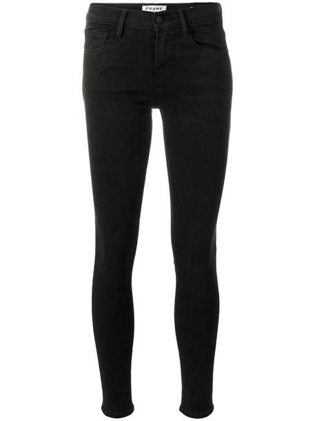 Frame Denim jeans skinny jeans cropped women spandex cotton black