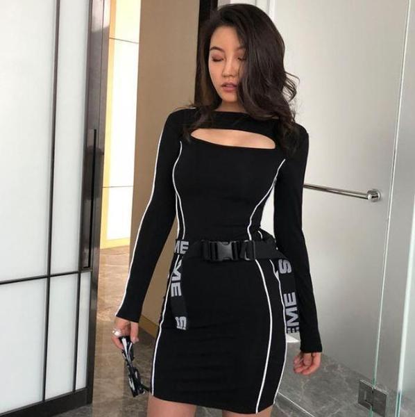 REFLECTIVE SIDE STRIPES PRINTING SLIM BLACK DRESS