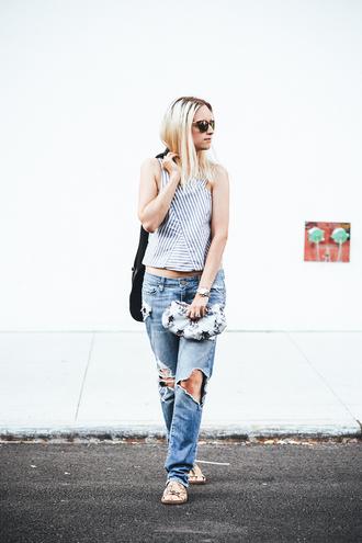 the fashion guitar top jeans bag jacket sunglasses