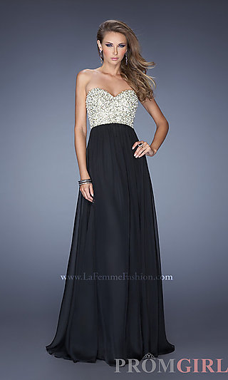 Strapless Evening Gown, La Femme Strapless Prom Dresses-PromGirl