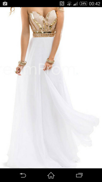 dress prom prom dress debs ball ball gown evening dress floor length floor length dress white gold sequins chiffon pretty beautiful