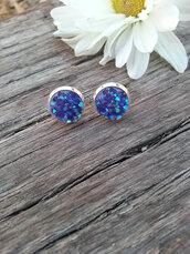 jewels,the glitzy hen,druzy,druzy earrings,stud earrings,silver,silver studs,silver earrings,10mm earrings,iridescent earrings,boho,hippie