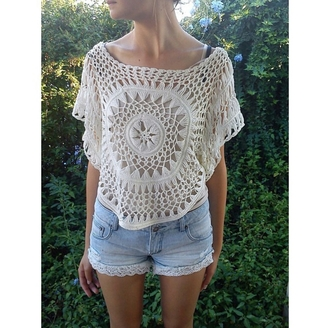 top blouse shirt clothes gorgeous women crochet crop top crochet see through shorts summer outfits festival spring break hipster fashionista style stylish trendy boho cute girly boho chic boho shirt indie indie boho summer tumblr girl cool denim blogger streetstyle streetwear beach instagram pretty knitwear beautiful coachella white lace on point clothing
